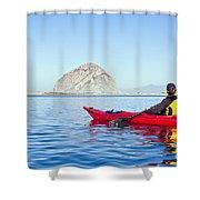 Morro Bay Kayaker Shower Curtain by Bill Brennan - Printscapes