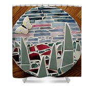 Mosaic Sailboats Shower Curtain by Jamie Frier