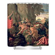 Moses Striking Water From The Rock Shower Curtain by Nicolas  Poussin
