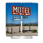 Motel Sign On I-40 And Old Route 66 Shower Curtain by Scott Sawyer