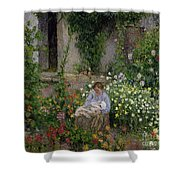 Mother And Child In The Flowers Shower Curtain by Camille Pissarro