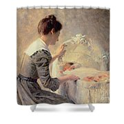 Motherhood Shower Curtain by Louis Emile Adan