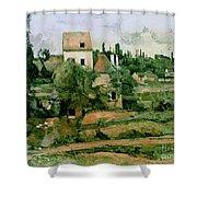 Moulin de la Couleuvre at Pontoise Shower Curtain by Paul Cezanne
