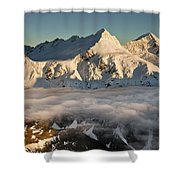 Mount Pollux And Mount Castor At Dawn Shower Curtain by Colin Monteath