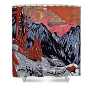 Mountains In Winter Shower Curtain by Ernst Ludwig Kirchner