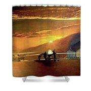 Mq-1 Predator Titled Anytime Anyplace Shower Curtain by Todd Krasovetz