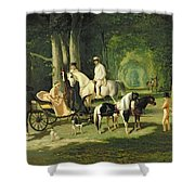 Mr And Mrs A Mosselman And Their Two Daughters Shower Curtain by Alfred Dedreux