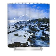 Mt. Hood Morning Shower Curtain by Mike  Dawson