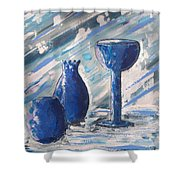 My Blue Vases Shower Curtain by J R Seymour