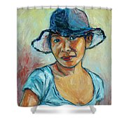 My First Self-portrait Shower Curtain by Xueling Zou