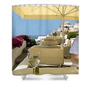 Mykonos Restaurant Shower Curtain by Madeline Ellis
