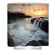 Na Pali Sunset Shower Curtain by Mike  Dawson