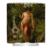 Narcissus In Love With His Own Reflection Shower Curtain by Dionisio Baixeras-Verdaguer