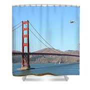 NASA Space Shuttle's Final Hurrah Over The San Francisco Golden Gate Bridge Shower Curtain by Wingsdomain Art and Photography