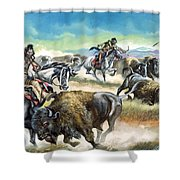 Native American Indians Killing American Bison Shower Curtain by Ron Embleton