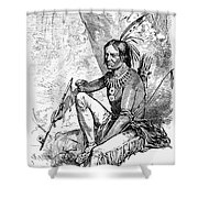 Native American With Pipe Shower Curtain by Granger