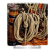 Nautical Knots 17 Oil Shower Curtain by Mark Myhaver