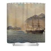 Naval Battle Of The Strait Of Shimonoseki Shower Curtain by Jean Baptiste Henri Durand Brager