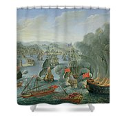 Naval Battle with the Spanish Fleet Shower Curtain by Pierre Puget