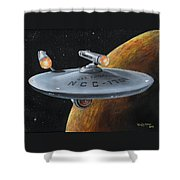 Ncc-1701 Shower Curtain by Kim Lockman