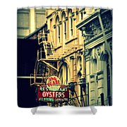 Neon Oysters Sign Shower Curtain by Perry Webster