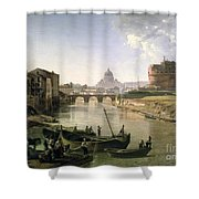 New Rome with the Castel Sant Angelo Shower Curtain by Silvestr Fedosievich Shchedrin