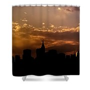 New York City Skyline At Sunset Panorama Shower Curtain by Vivienne Gucwa