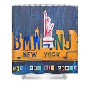 New York City Skyline License Plate Art Shower Curtain by Design Turnpike