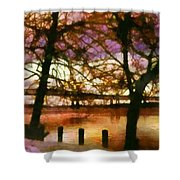 Newburgh Beacon Bridge Purple skies Shower Curtain by Janine Riley
