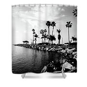 Newport Beach Jetty Shower Curtain by Paul Velgos