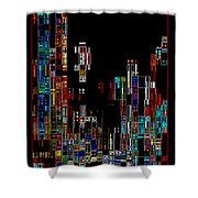 Night on the Town - Digital Art Shower Curtain by Carol Groenen
