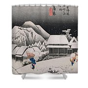 Night Snow Shower Curtain by Hiroshige