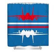 No128 My Top Gun Minimal Movie Poster Shower Curtain by Chungkong Art