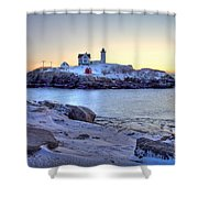 Nubble Sunrise Shower Curtain by Susan Cole Kelly