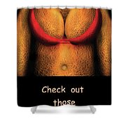 Nudist - Check Out Those Melons - Nudist Grocer Shower Curtain by Mike Savad