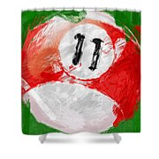 Number Eleven Billiards Ball Abstract Shower Curtain by David G Paul