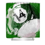 Number Fourteen Billiards Ball Abstract Shower Curtain by David G Paul