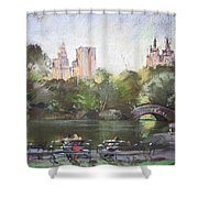 Nyc Resting In Central Park Shower Curtain by Ylli Haruni
