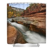 Oak Creek In Slide Rock State Park Shower Curtain by Tim Fitzharris
