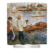 Oarsmen At Chatou Shower Curtain by Pierre Auguste Renoir