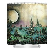 Ocean Moonrise Shower Curtain by Kaye Miller-Dewing