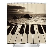 Ocean Washing Over Keyboard Shower Curtain by Garry Gay
