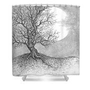 October Moon Shower Curtain by Adam Zebediah Joseph