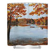 October Morn At Walden Pond Shower Curtain by Jack Skinner