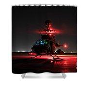Oh-58d Kiowa Pilots Run Shower Curtain by Terry Moore