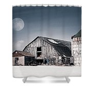 Old Barn And Winter Moon - Snowy Rustic Landscape Shower Curtain by Gary Heller