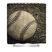 Old Baseball Shower Curtain by Edward Fielding
