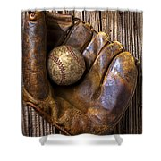 Old Baseball Mitt And Ball Shower Curtain by Garry Gay