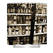 Old Drug Store Goods Shower Curtain by DigiArt Diaries by Vicky B Fuller