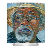 Old Man Wearing A Hat Shower Curtain by Xueling Zou